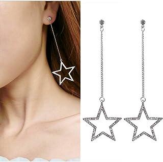70ed79c09cc1 HUGJOU Pendientes De Cristal De Moda para Mujer Pendientes Largos Y Largos  Estrella Hueca De Cinco