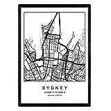 Nacnic Stampa Artistica Cartina geografica della Città di Sidney, Australia, Oceania. Mappa della Città dell'Arte, Stile Nordico in Bianco e Nero. Stampato su Carta da 250 Grammi di Alta qualità.