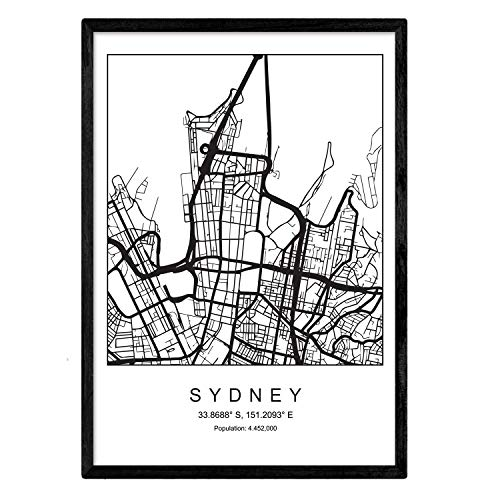 Nacnic Lámina Mapa de la Ciudad Sydney Estilo nordico en Blanco y Negro. Poster tamaño A3 Sin Marco Impreso Papel 250 gr. Cuadros, láminas y Posters para Salon y Dormitorio