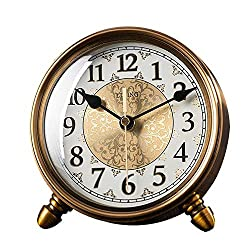 LWLEI Retro Table Clocks,Metal Desk Clock,Silent Movement,Bracket Clocks, Mantel Clock for Bedroom, Office, Kitchen,Mantel, Shelf Desktop-Clock (Color : Metallic)