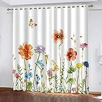 2枚のパネルブラックアウトカーテンドレープ 花の茂み トップアイレットカーテン寝室のリビングルームの断熱カーテン 幅100 x 丈60