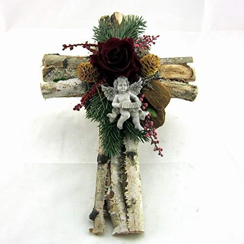 Small-Preis Grabgesteck - Grabschmuck - Grabaufleger Kreuz mit roten Rosen 072