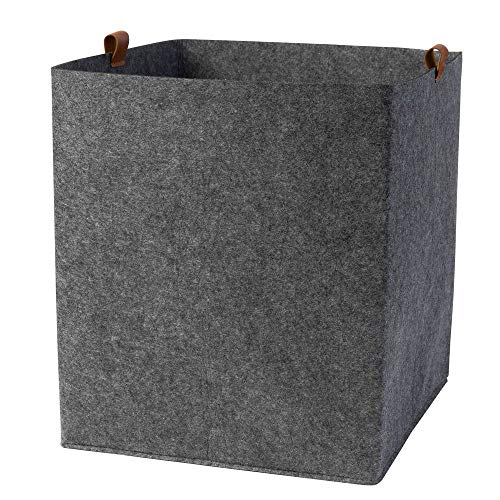Filz Aufbewahrungskorb mit PU-Lederlaschen für Kinderzimmer uni (Farbe wählbar) | Box, Korb für Spielsachen 38x33x33 cm (grau, uni)