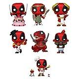 Funko Pop! Deadpool 30th Anniversary Set of 7: Deadpool Backyard Griller, Coffee Barista, Dinopool, Flamenco, Roman Senator, LARP and Deadpool in Cake