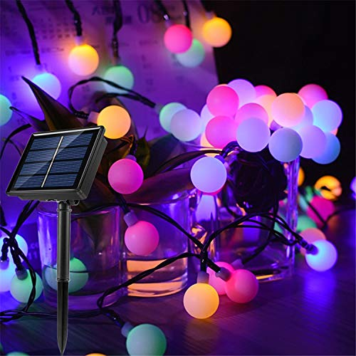 Solar Fairy Lights Multicolor 100 LED Ball 55 Ft String Lights Waterproof with 8 Modes Cosy Glow Ambiance Globe Lighting for Garden, Christmas, Bedroom, Patio, Wedding, Party, Festival Decoration