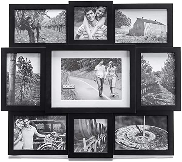 Malden 9 Opening Collage Picture Frame Made To Display One 1 5 X 7 Two 2 4 X 4 And Six 6 4 X 6 Black