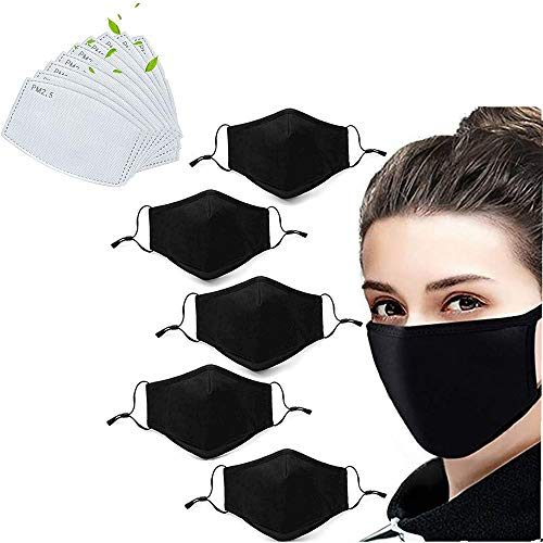 6 Pack Unisex Fashion Stretch Lightweight Cotton Covering Face and Mouth Reusable Washable Adjustable 3 Ply With 12PC Replacement Filters (6M+12F)