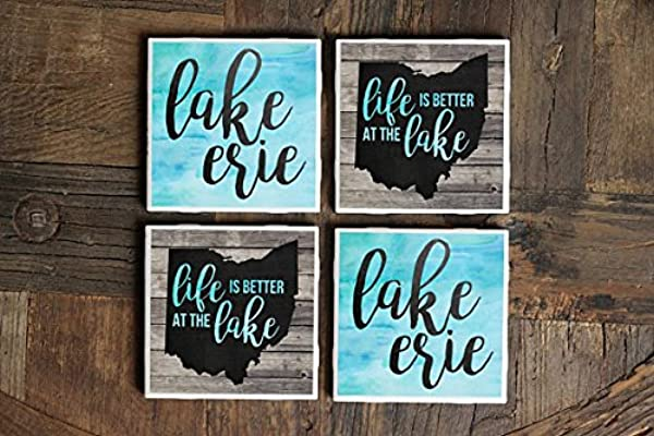 Lake Erie Gift Lake Erie Great Lakes Coasters Ohio Gift Lake House Life Is Better At The Lake Great Lakes Gift Lake Decor