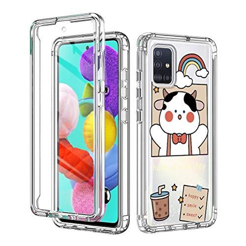 """Yoedge Cover per Samsung Galaxy A52 (4G/5G),Transparent 360 Gradi Antiurto Protezione Custodia,PC Bumper e Silicone TPU con Disegni di Moda,Proteggi Schermo Case per Samsung A52 (6,5""""),Mucca Latte"""
