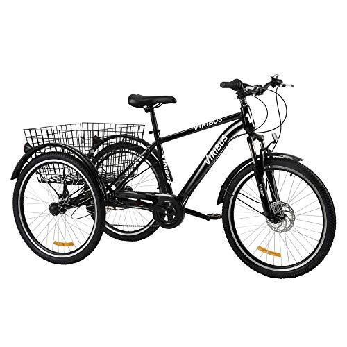 Z ZELUS 26 Zoll Dreirad für Erwachsene 7 Geschwindigkeit Zahnräder mit Warenkorb 3 Rad Fahrrad (Schwarz)