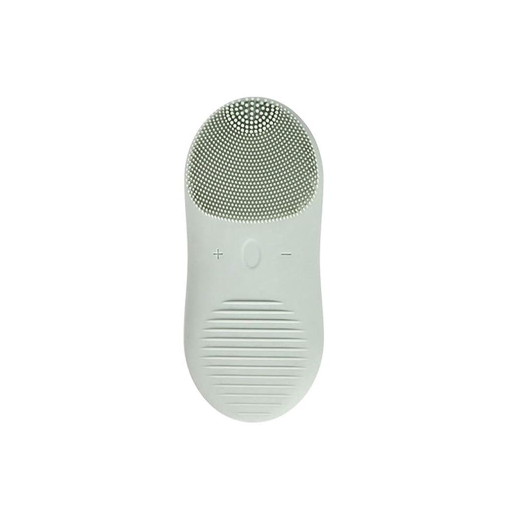 魅力哲学者ラグZXF 新しい電気技師シリコーンクレンジングブラシ防水超音波振動クレンジング楽器USB充電マッサージ器具美容器具 滑らかである (色 : Green)
