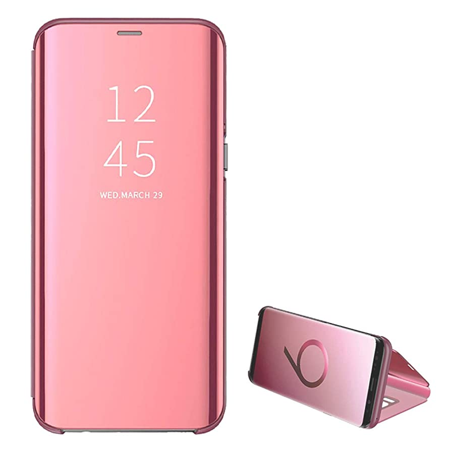 for Samsung Galaxy J7 PRO case Clear View Cover Slim Mirror Plating PC Full Body Protective Standing Cover