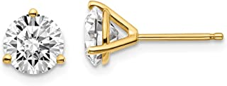14k Yellow Gold 1 1/2ctw SI1/SI2, G H I, Lab Grown Diamond 3 Prg Earring