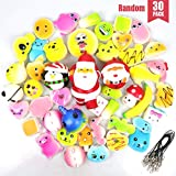 POKONBOY 30 Pcs Squishies Squishy Toys Easter Party Favors for Kids - Strawberry Squishy Slow Rising Simulation Bread Stress Relief Toys Squishy Easter Egg Fillers, Keychain Phone Straps