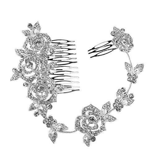 PIXNOR Bridal Rhinestone cheveux peigne cheveux accessoires Rose perle déco diadème de mariage