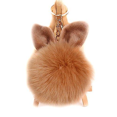 URSFUR 2PCS Faux Pelz Kugel Ball kunstpelz Bommel Schlüsselbund Kaninchen Ohr Tasche Anhänger Schlüsselanhänger - Khaki