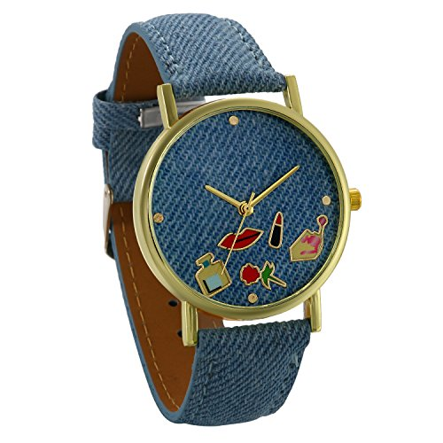 JewelryWe Damen Frauen Armbanduhr, Einzigartig Mode Analog Quarz Uhr Cowboy Denim Leder Band Quarzuhren mit Cartoon Rot Lippen Lippenstift Rose Design Zifferblatt, Hellblau