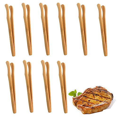 3 Piezas Bambú Antideslizantes Pinza,Servir Pinzas de Bambú para Comida,Pinza De Bambú Cocina Pinzas,Barbacoa Utensilios Pinza De Tostadas Pinzas De Pan De Bambú con el Medio Ambiente No Tóxico