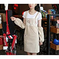 DOLORES Distaffエプロン2PCS / LOTファッションキッチン大人のオイルプルーフコットンカフェストラップ作品 エプロン 女性のエプロン ガーデンエプロン おばあちゃんのエプロン ガールエプロン (Color : Beige+sleeves, UnitCount : 2PCS)