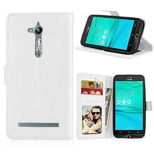 Fatcatparadise Kompatibel mit Asus ZenFone GO TV ZB500KL / KG Hülle + Bildschirmschutz, Flip Wallet Hülle mit Kartenhalter & Magnetverschluss Halterung PU Leder Hülle handyhülle (Weiß)