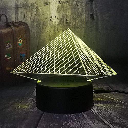 Lampara De Sueno Lampara De Mesa Muloudulouvre Lujo 3D Piramide Usbled Luz Nocturna 7 Colores Cambian Toque Navideno Ninos Dormitorio Mesa De Comedor Escritorio Lampara De Regalo