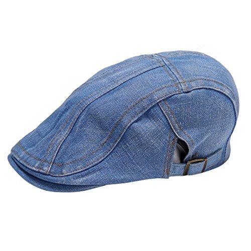 Gorra de hombre de tejido vaquero estilo Newsboy, gorra plana estilo Gatsby, gorra estilo Ivy, gorra de caza estilo irlandés azul azul claro