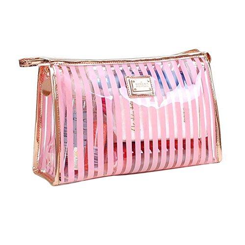 Trousse Make Up Trasparente, ONEGenug Borsa Cosmetica Impermeabile Cancella Borse da Toilette Chiaro Sacchetto Cosmetico Organizer per Valigie da Viaggio in PVC (pink)