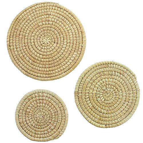 SIDCO Untersetzer 3 x Seegras Topfuntersetzer Tischset Pfannen und Töpfe Schutz rund
