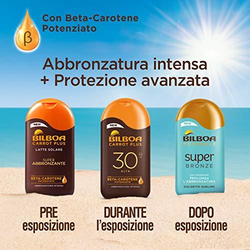 Bilboa Carrot Plus, Latte Solare SPF 6, Abbronzante Corpo, Formula con Betacarotene per una Abbronzatura Intensa e Duratura, Resistente all'Acqua, Dermatologicamente Testato, 200 ml