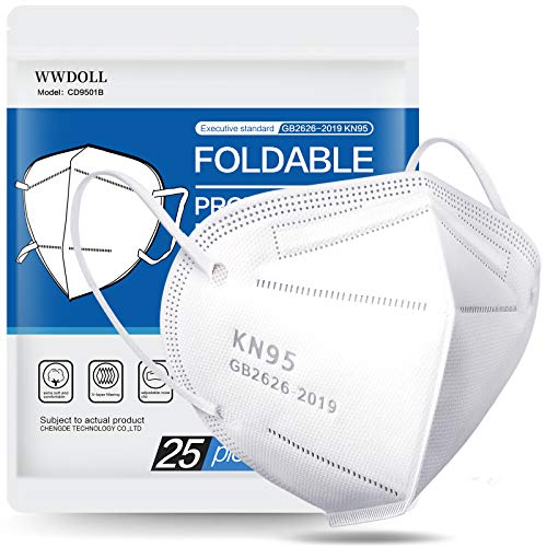 25 Pack KN95 Face Mask, Filter Efficiency≥95%, 5-Ply Mask Protection Against PM2.5, Fire Smoke, Dust Cup Dust Mask White