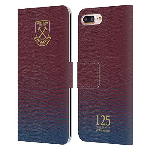 Head Case Designs Oficial West Ham United FC Cresta de semitono Claret 125 Año Aniversario Carcasa de Cuero Tipo Libro Compatible con Apple iPhone 7 Plus/iPhone 8 Plus
