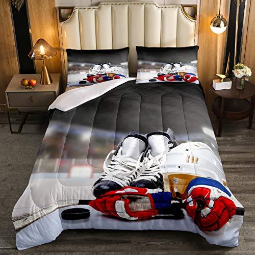 Erosebridal Ice Hockey Comforter Set Twin, Hockey Player Down Comforter for Kids Boys Girls Teens Juvenile, Sports Game Duvet Insert, Soft Winter Quilted Duvet Sports Bedroom Decor for All Season