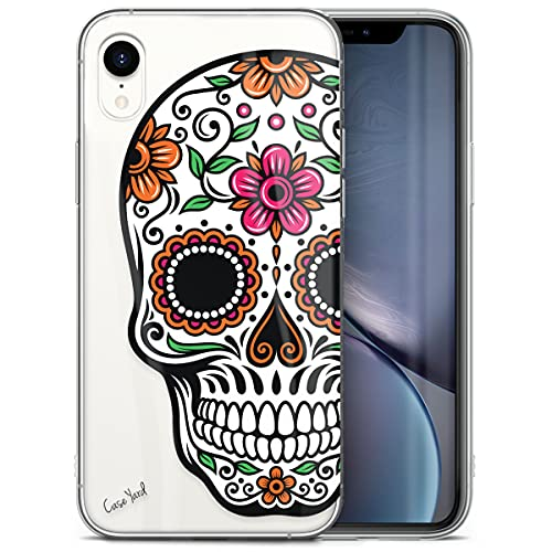 CaseYard Clear Soft & Flexible TPU Case for iPhone XR - Ultra Low Profile Slim Fit Thin Shockproof Transparent Bumper Protective Cover Drop Protective Case (Color Sugar Skull)