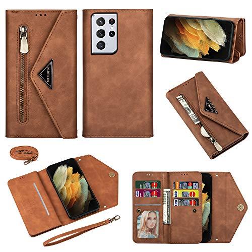 Shinyzone Funda compatible con Samsung Galaxy S21 Ultra, piel sintética, con cremallera, para el teléfono móvil, con compartimento para tarjetas y cadena, color marrón