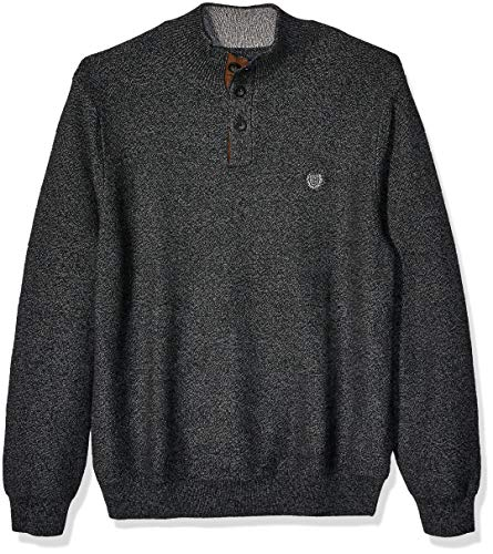Chaps Men's Classic Fit Button Mock Sweater, Charcoal Twist, L
