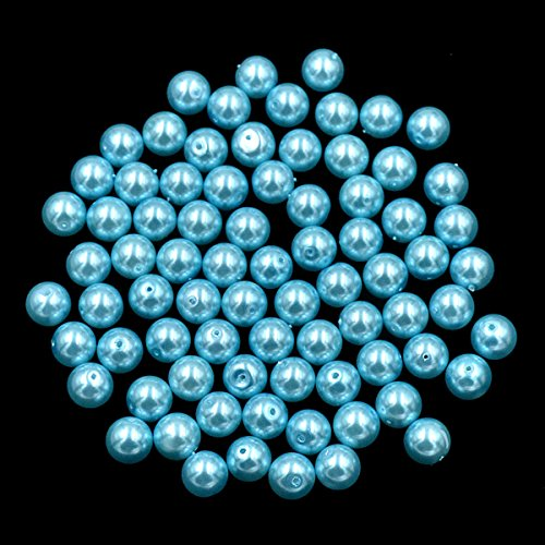 AD Beads 100 Pieces Czech Glass Pearl Round Loose Beads 12mm Aquamarine Blue