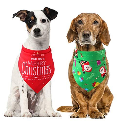 Egurs Vrolijk Kerstmis Hond Bandana 2 stks Katoen Huisdier Bib Scraf voor Kerstmis (Rood + Groen)
