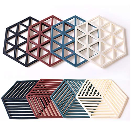 Silicone Trivet Mats and Hot Pads 8 Pcs 5.63 4.92 IN Hexagon Heat Multifunction Kitchen Tool for Bowl Mats, Dish Mats Placemats