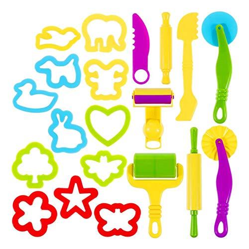 20 piezas de herramientas de masa para niños, herramienta de masa de arcilla, herramientas de masa de plástico para niños, paquete de fiesta de arcilla de modelado de varias formas para niños y niñas