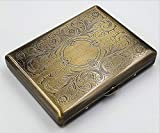 Cigarette Case Victorian Style Metal Holder for Regular, King and 100's Size RFID (Large, Antique Brass)