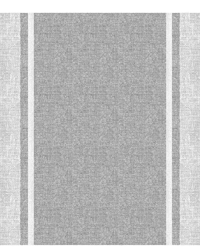 Homelife Alfombra Vinílica de Cocina Lavable y Antideslizante Alfombra Rectangular de PVC Antimanchas, Interior y Exterior | Alfombra Pasillera con Efecto Lino Gris (52x240 cm)
