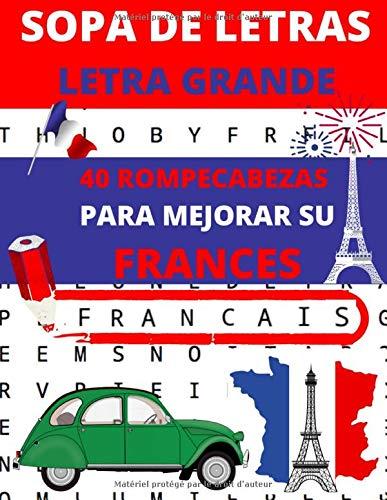 SOPA DE LETRAS : Letra grande: Libro de 40 rompecabezas para mejorar su francés + soluciones (sopa de letras francés | 1 tema por pagina)