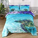 3 Pieces Bed-in a-Bag Turtle Comforter for Kids, Teal Sea Turquoise Ocean Duvet Bedding Sets for Teens Boys and Girls
