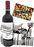 BRUBAKER Weinflaschenhalter Pianist mit Flügel - Flaschenständer Klavierspieler aus Metall mit Grußkarte für Weingeschenk