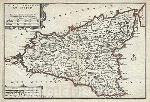 Historic Map : Sicily, Italy, De Fer, 1701, Vintage Wall Décor : 36in x 24in