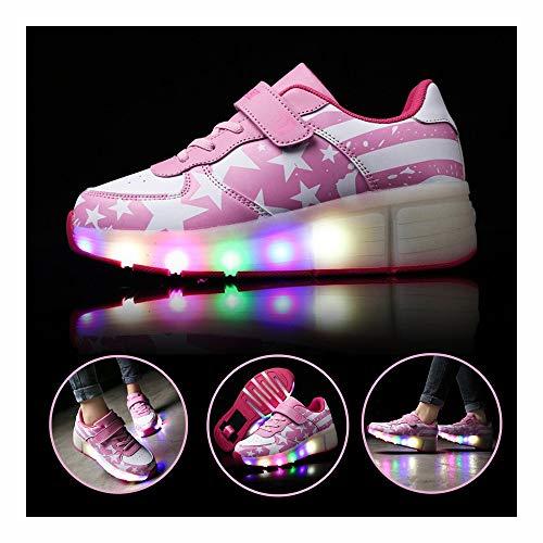 Ice-Beauty-ukzy Kinder Rollschuhe mit LED-Beleuchtung, Sport-Sneaker, Unisex, Outdoor-Sportschuhe, Gymnastik-Sneakers für Anfänger, Geschenk, Rose, 37