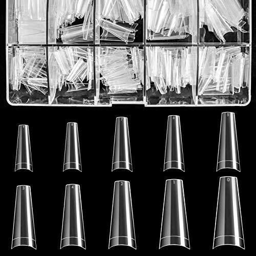 Clear Acrylic Nail Tips - Coffin Nail Tips BTArtbox 500pcs Artificial Ballerina shaped Fake Nails Half Cover False Nail with Case for Nail Salons and DIY Nail Art, 10 Sizes