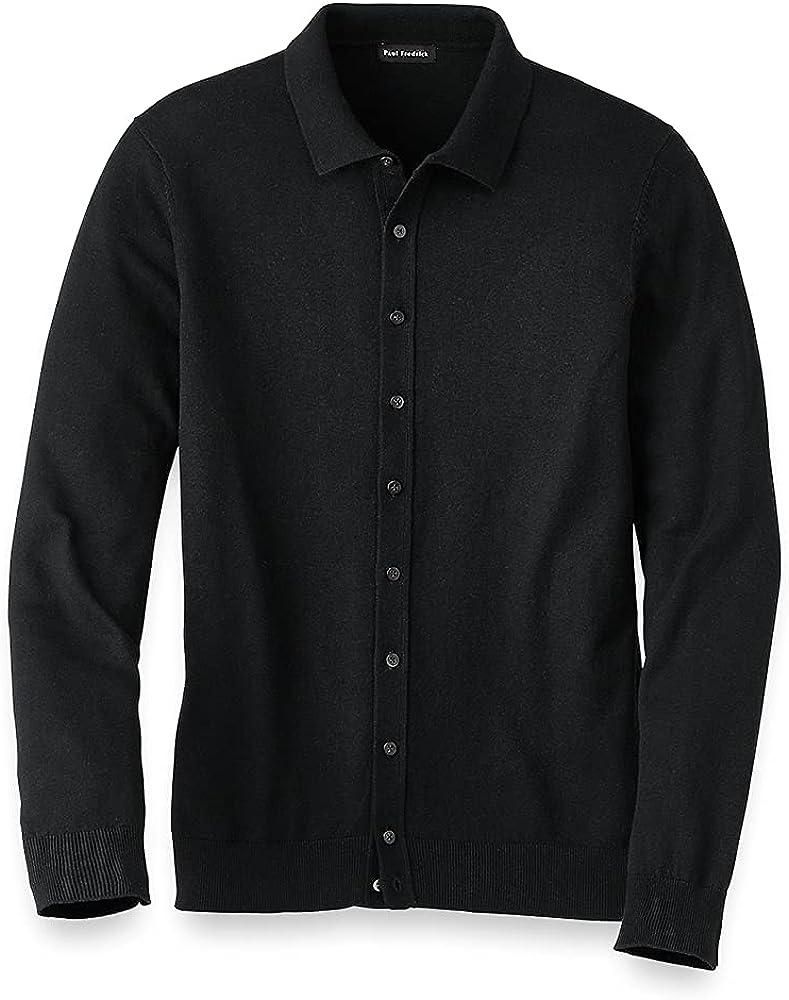 Paul Fredrick Men's Silk Cotton and Cashmere Button Front Polo