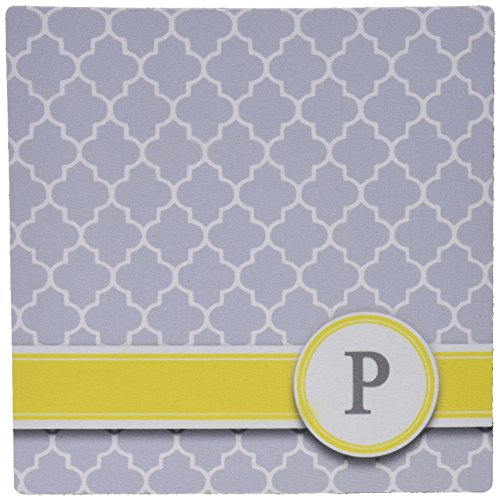 3dRose LLC 8 x 8 x 0.25 Inches Mouse Pad, Your Personal Name Initial Letter P, Monogrammed Grey Quatrefoil Pattern, Personalized Yellow Gray (mp_154582_1)