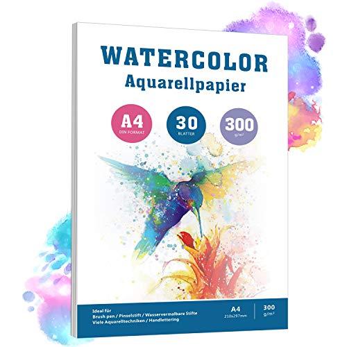 Aquarellpapier A4, 30 Blätter, 300 g/m², Weiß Aquarellblock mit Rauher Oberfläche, pH-neutral Watercolour Paper Pad, 100% Baumwolle Säurefreis Papier für Aquarellmalerei Zeichnung und Handlettering